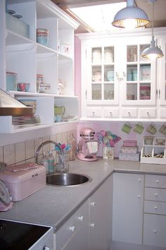 Beautiful pastel kitchen- couldn't pull it off in the kitchen, but I love the color palette for a tranquil space.