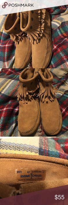 Selling this Minnetonka moccasin booties on Poshmark! My username is: lolomassiedoe. #shopmycloset #poshmark #fashion #shopping #style #forsale #Minnetonka #Shoes