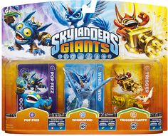 #ToysRus                  #Toys #Action Figures     #skylander #whirlw #lif #fizz #ind #powers #portal #skylanders #own #giants #unique #trigger #happy #triple #life #ultimate #collection #packs #game #power Skylanders Giants: Triple Packs -Pop Fizz, Whirlwind, and Trigger Happy       Bring the Skylanders to Life! Bring the Skylanders to life by placing them on the Portal of Power. Build the ultimate collection of Skylanders - over 45 Skylanders to collect! Each Skylander has their own…