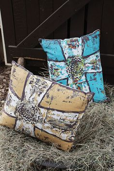 New Inspirational Turquoise or Tan Cross Decorative Throw Pillow Western Decor