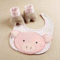 "Baby Aspen ""Chomp & Stomp Pig Bib and Booties Gift Set!"
