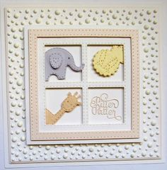 Hi bloggers! I have a fun baby card for you today! I started by cutting a JustRite die called Four In A Square die in white as I wanted four equal squares for my animals. I used the Double Pierced