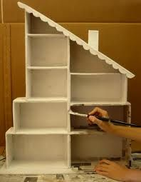 Dollhouse with shoe boxes.