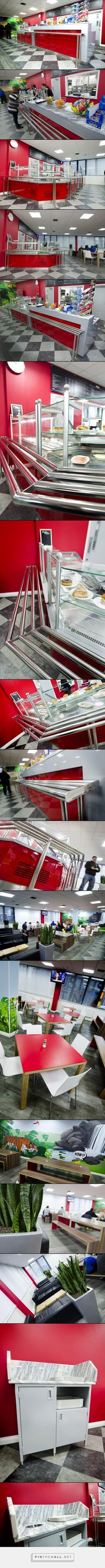 canteen design catersales interior design classes london #Bromley #Canteen #DisplayCounter #RedInterior #Alluminium #LacquerFinish  #StainlessSteel #Marble #HighBar. Catersales Ltd · Coffee Shop Design ...