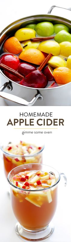 Homemade Apple Cider is incredibly easy to make on the stovetop, and will make your home smell amazing! Feel free to customize with your desired type (and amount) of sweetener. Apple Recipes, Fall Recipes, Holiday Recipes, Holiday Drinks, Party Drinks, Yummy Drinks, Healthy Drinks, Yummy Food, Homemade Apple Cider