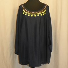 Lane Bryant Embellished Top Navy batwing cape top with lime green an clear details along the neckline. Light and comfortable. Lane Bryant Tops Blouses