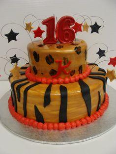 Sweet 16 Cake. Gold with Zebra Print.