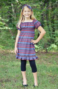 Create Kids Couture - Kayla's Tween Knit Ruffle Top and Dress PDF Sewing Pattern. Easy to sew, comfy to wear- create one-of-a-kind look with this top/dress pattern for tweens!