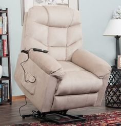 Power Lift Massage Recliner Chair with OKIN Motor Heat and Vibration for Elderly, Elastron Fabric Living Room Sofa Chair with Remote Control, USB Charge Port and Cup Holders (Beige) Living Room Seating, Cozy Living Rooms, Living Room Sofa, Living Room Furniture, Sofa Upholstery, Sofa Chair, Upholstered Chairs, Armchair, Recliner Chairs