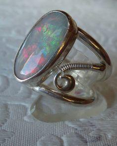 Australian Opal sterling silver ring.