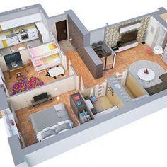 20 plantas de apartamentos de 2 quartos