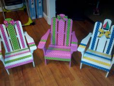 How cute are these little guy/gal adirondack chairs? Repainting Furniture, Kids Furniture, Outdoor Furniture, Pallet Projects, Projects To Try, Adirondack Chairs, Yard Art, Outdoor Ideas, Backyard Ideas