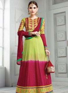 Green & Maroon abaya style designer anarkali suit for all occasions B15094
