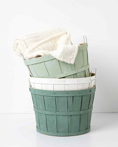 Add a pop of color by painting a color wash on inexpensive orchard baskets.