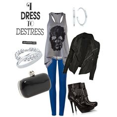 Party Like A Rockstar, created by itsalessia on #polyvore - #fashion #style #outfit #tiffany #rebel #rocker #leatherjacket #boots #mcqueen #alexandermcqueen #skull #bluepants