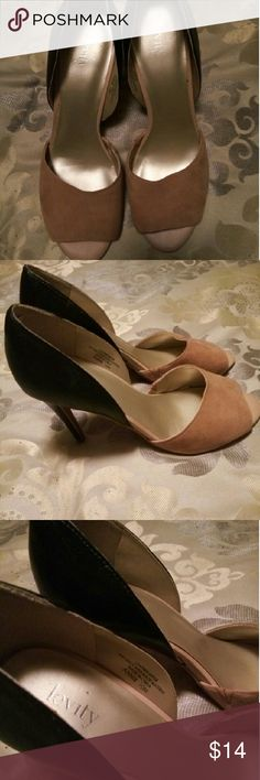 Black & tan two tone peep toe Levity (DSW brand) Front tan suede/back black .leather upper sole and heel is very good condition Dsw Shoes Heels