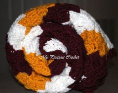Burgundy and gold #Redskins inspired crochet baby blanket!  This will no doubt be the #LilRedskins blanket of choice.