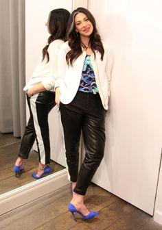 White Jacket by Zara, Floral Blouse by Sandro, Black Leather Pants by Rag & Bone