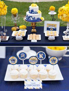 Host a Royal Wedding Viewing Party Royal Wedding Themes, Navy Blue Wedding Theme, Wedding Colors, Yellow Weddings, Wedding Flowers, Dessert Bars, Dessert Buffet, Dessert Tables, Bleu Royal