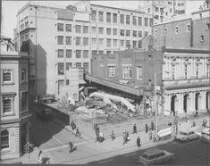 Demolition of the 'old tin shed' - cnr Lt Bourke and Elizabeth Streets, Melbourne, 1964.