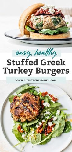 These Greek Turkey Burgers are a HUGE family favorite. They're a quick and easy recipe, perfect for grilling season. Stuffed with sautéed spinach, chopped sun dried tomatoes and feta. Great with a bun or even bun-less on a salad for a keto burger recipe. If following a dairy free diet, try subbing the feta for a plant based feta! #summerrecipes #turkeyrecipes #turkeyburgers #stuffedburgers #healthyburgers #easydinner #favoriterecipes #paleodiet