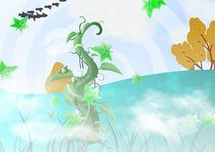 Generiert aus dem Text: Frosch auf Bohnenranke. Nebel. Boden türkis. Vögel wolken. Himmelsspirale. Grüne Blätter. Tinkerbell, Disney Characters, Fictional Characters, Disney Princess, Art, Hand Drawings, Mists, Drawing Hands, Clouds