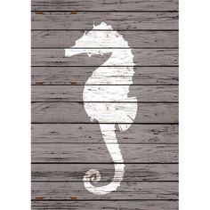 Wooden Seahorse Wall Art Print