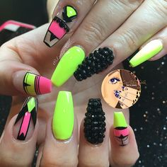 #ShareIG Neon Yellow Mix With Pink & Black coffin shape