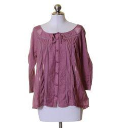 Deletta Mauve Pink Pin-tucked Lace Cotton Silk Blend Blouse Size M #Deletta #KnitTop #Casual