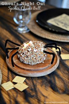 Bacon & Chive Cheese Ball Spider- perfect for hosting a Ghoul's Night Out. #spookysnacks #cbias #shop