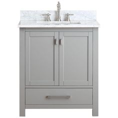 Avanity Modero 31 in. W x 22 in. D x 35 in. H Vanity in Chilled Gray with Marble Vanity Top in Carrera White and White Basin