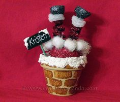 Santa Chimney Place Setting [Crafts by Amanda} #claypot #craft #christmas