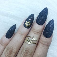 $25 Sugar effect Set of 3d gold star black glitter press on