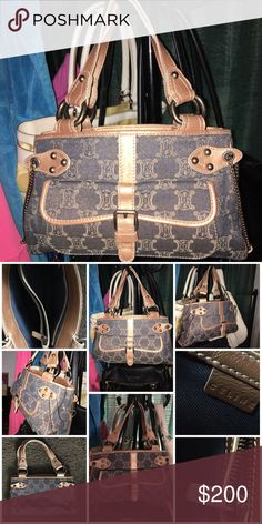 0cfec17f68 Vintage Celine macadam denim with leather trim Clean and good shape  especially for being vintage has a fun gypsy type vibe theme I think anyway  lol Celine ...