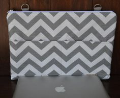Laptop cover, Mac Book Laptop sleeve, 13, 15, 17  INCH / Zipper close,  shoulder bag, Messenger Strap, Gray computer case,  by Darby Mack