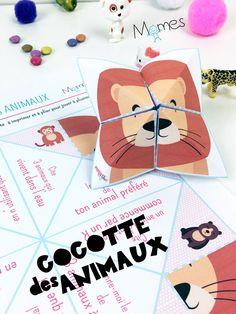 Indémodable jeu de récréation, voici une cocotte rigolote à imprimer et à plier pour jouer à plusieurs sur le thème des animaux. A vous de jouer !