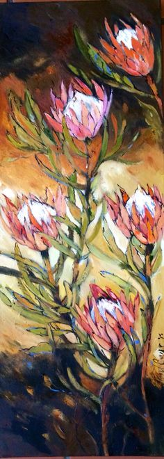 Totally in love with this painting - Long proteas, Liesel Brune Abstract Flower Art, Abstract Canvas Art, Plant Painting, Painting & Drawing, Paintings I Love, Floral Paintings, Protea Art, Watercolor Flowers, Art Flowers