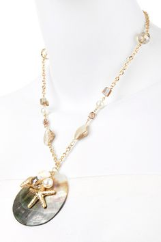 Embellished Shell Pendant Necklace – Modeets