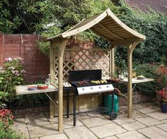 Garden BBQ Shelter Arbour Seat Outdoor Patio Bench Grill Barbecue Party Gazebo
