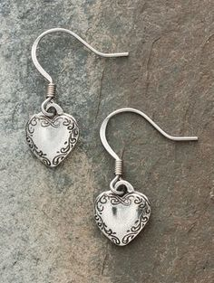 Dainty Pewter Heart Earrings: Handcrafted With Love Here In Vermont