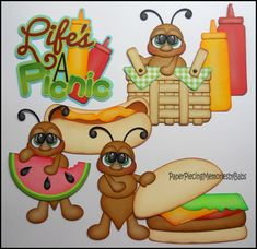 Created by PAPER PIECING MEMORIES BY BABS. Picnic ants for scrapbook pages