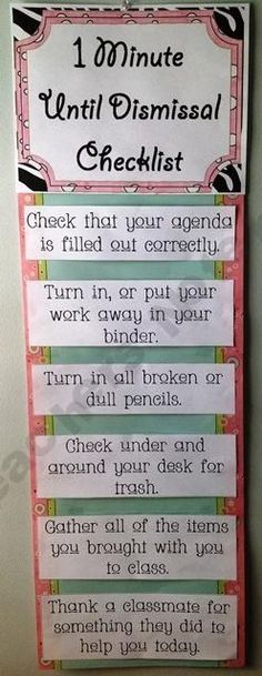 This is great! Just a couple of tweaks for my own classroom, and it's a keeper! Maybe hang on the inside of the door? Or right beside it.