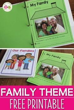 Here is a free family theme printable for you. It is a great activity to add to your Thanksgiving, all about me, or family theme lesson plans. Use the pages individually or bind them to create a class book (cover included) Perfect for preschool, pre- Preschool Lesson Plans, Preschool Class, Kindergarten Activities, Preschool Songs, Kindergarten Family Unit, Toddler Lesson Plans, Kindergarten Thanksgiving, Preschool Printables, Preschool Family Theme