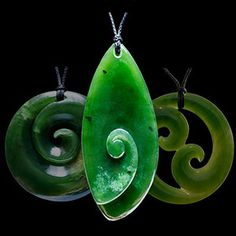 New Zealand jade Koru necklaces at The Bone Art Place
