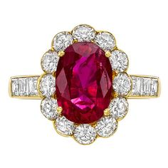 2.40 Carat Ruby Diamond Cluster Ring | From a unique collection of vintage cluster rings at https://www.1stdibs.com/jewelry/rings/cluster-rings/