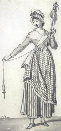 18th century Scottish highlands and islands. Spinning still done by drop spindles. Some had whorls and some did not.
