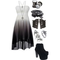 A fashion look from July 2013 featuring black prom dresses, black leather boots and beaded jewelry. Browse and shop related looks. Cute Emo Outfits, Bad Girl Outfits, Teen Fashion Outfits, Edgy Outfits, Mode Outfits, Outfits For Teens, Dress Outfits, Gothic Outfits, Pretty Dresses