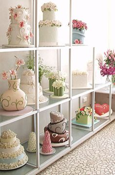 This is a beautiful cake display wall.  I can't wait to have my own.