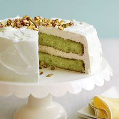 Bake this moist pistachio cake for a potluck and it will be the talk of the party. Pistachio pudding mix colors the cake batter bright green. Sweet Recipes, Cake Recipes, Dessert Recipes, Dinner Recipes, Pasta Recipes, Dinner Ideas, Breakfast Recipes, Cooking Recipes, Just Desserts