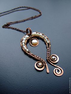 #wirework necklace. beautiful shape; love the antiqued copper with pearls